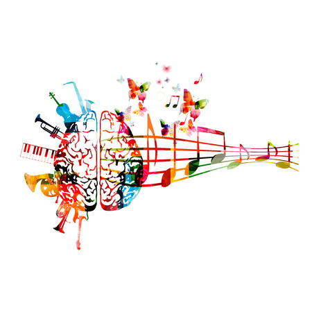 Colorful human brain with music notes and instruments isolated Illustration