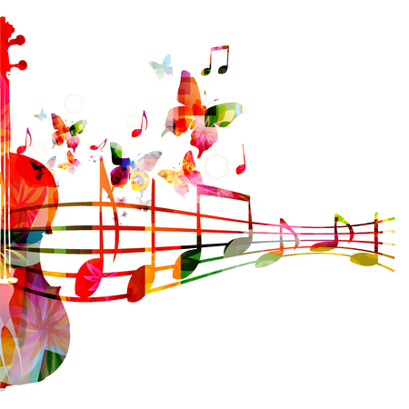 Colorful violoncello with music notes isolated