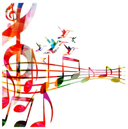 Music  with colorful G-clef and music notes Ilustração