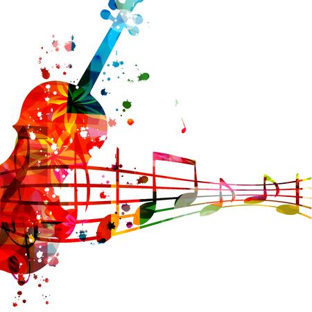 Violoncelle coloré avec des notes de musique isolées