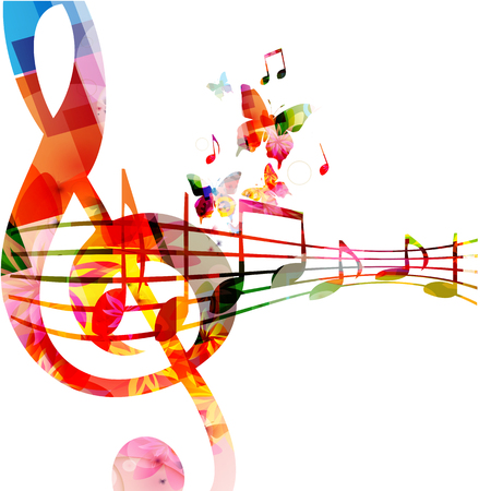 Musique avec clé de sol colorée et notes de musique