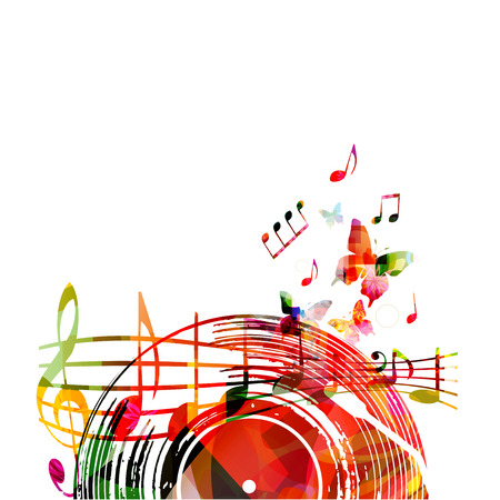 Music  with colorful vinyl record and music notes