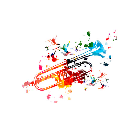 Colorful trumpet with music notes isolated