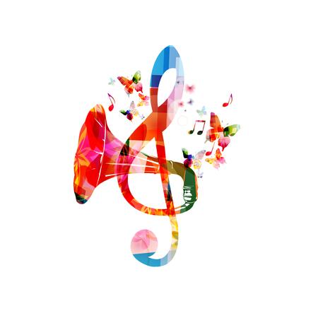 Kolorowy klucz wiolinowy z rogiem gramofonowym na białym tle