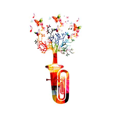 Buntes Euphonium mit Baum isoliert Vektorgrafik