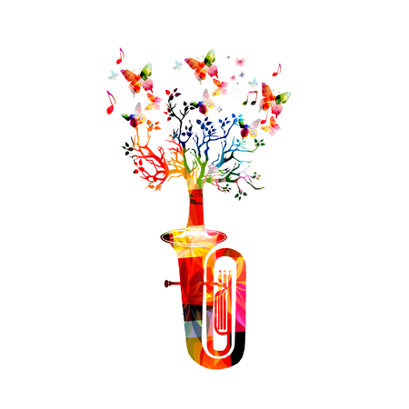 Colorful euphonium with tree isolated Illustration