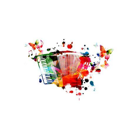 Acordeón colorido con notas musicales aisladas