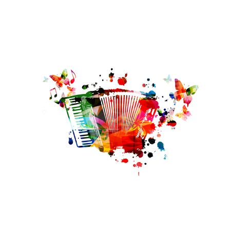 Colorful accordion with music notes isolated Иллюстрация