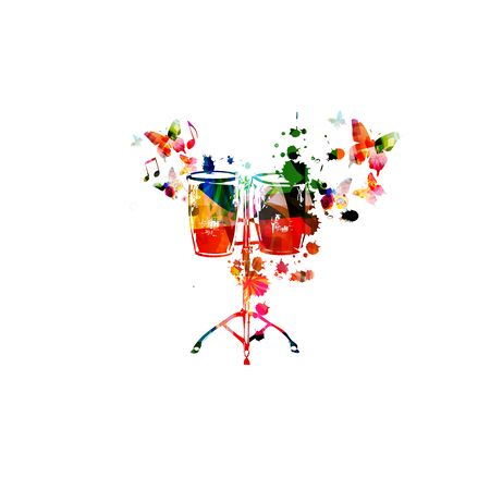 Colorful drums with music notes isolated