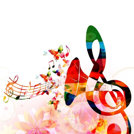 Colorful G-clef with gramophone horn and saxophone isolated Иллюстрация