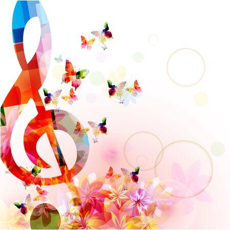 Musik mit buntem G-Schlüssel und Schmetterlingen