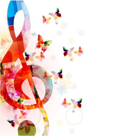 Music  with colorful G-clef and butterflies