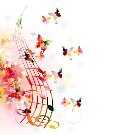 Music  with colorful G-clef and music notes Иллюстрация