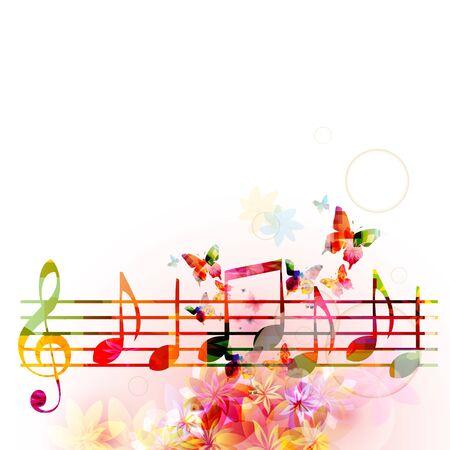 Musica con G-clef colorato e note musicali Vettoriali