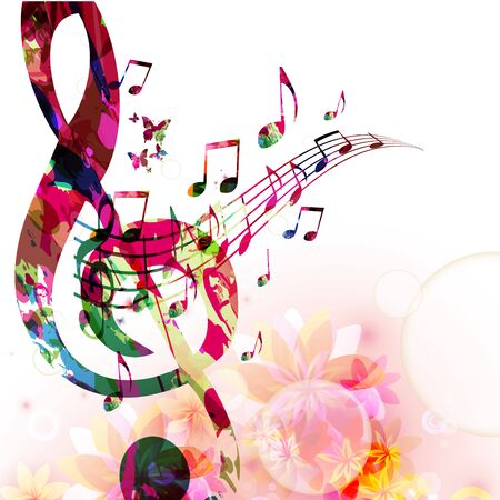 Music  with colorful G-clef and music notes Vettoriali