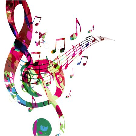Music  with colorful G-clef and music notes Illustration