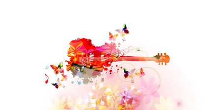 Colorful guitar with music notes isolated