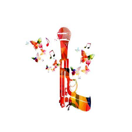 Musik mit buntem Mikrofon und Pistole
