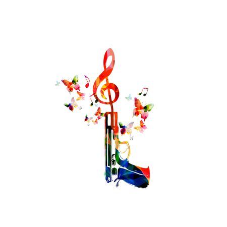 Music  with colorful G-clef and pistol