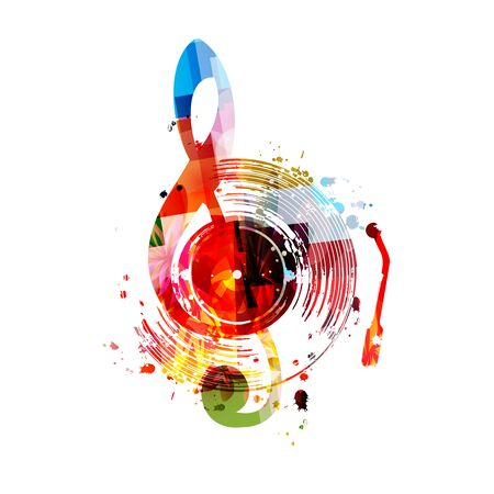 Music  with colorful vinyl record disc and G-clef  design. Иллюстрация