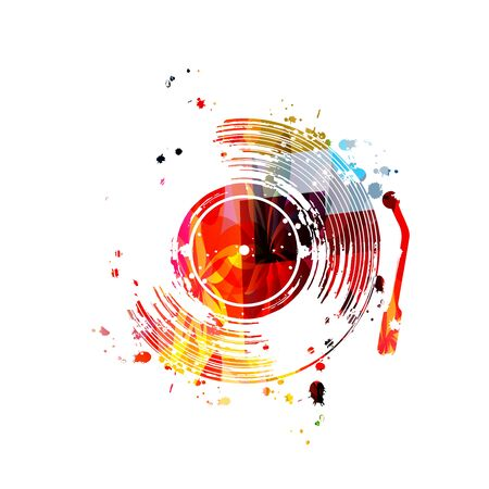 Music  with colorful vinyl record disc vector  design. Иллюстрация