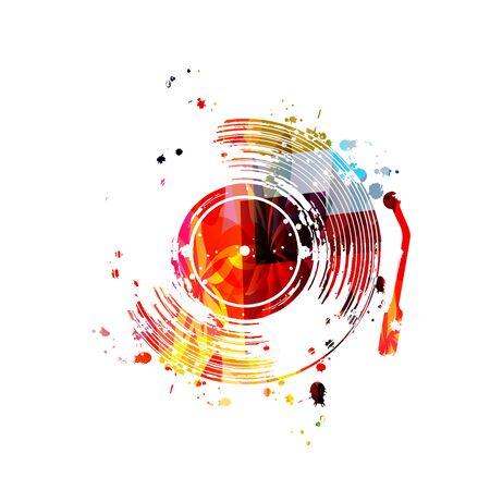 Musique avec un design vectoriel de disque vinyle coloré.