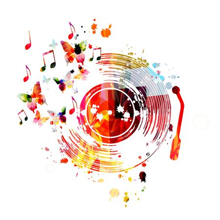 Music  with colorful vinyl record disc and music notes  design.