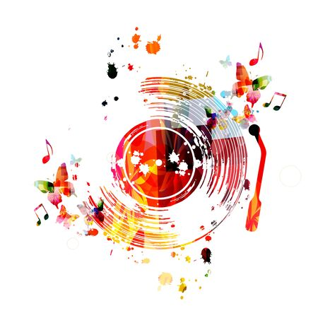 Music  with colorful vinyl record disc and music notes  design