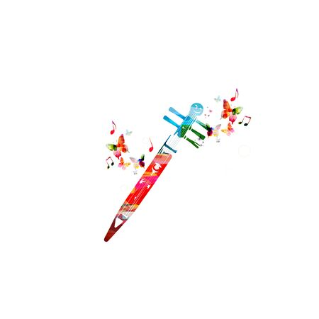 Colorful tonkori instrument with music notes isolated  design