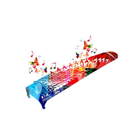 Colorful koto instrument with music notes isolated Иллюстрация