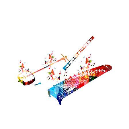 Colorful koto, shamisen and shakuhachi with music notes isolated