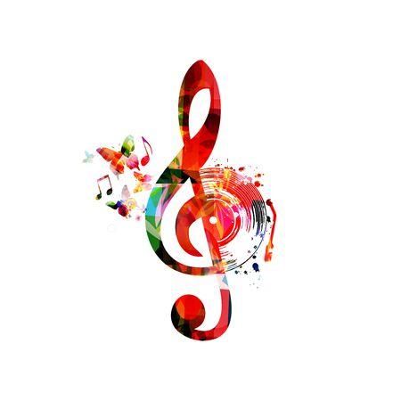 Musik mit buntem G-Schlüssel und Vinylaufzeichnungsscheibe lokalisierte Vektorillustrationsdesign.