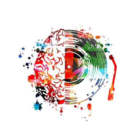 Music  with colorful human brain and vinyl record disc isolated vector illustration design Stock Illustratie