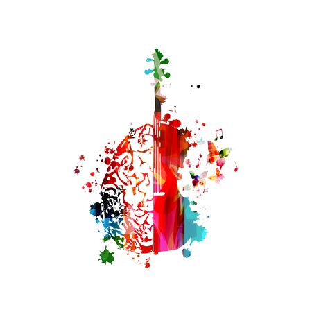 Colorful violoncello with human brain isolated