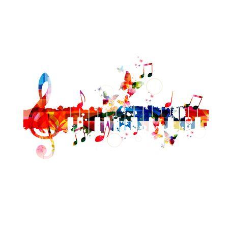 Teclado de piano colorido con notas musicales Ilustración de vector