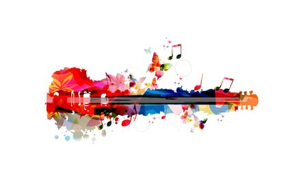 Colorful guitar with music notes isolated Stock fotó - 130839728