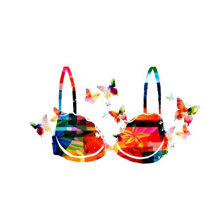 Colorful womens bra with butterflies isolated Illustration