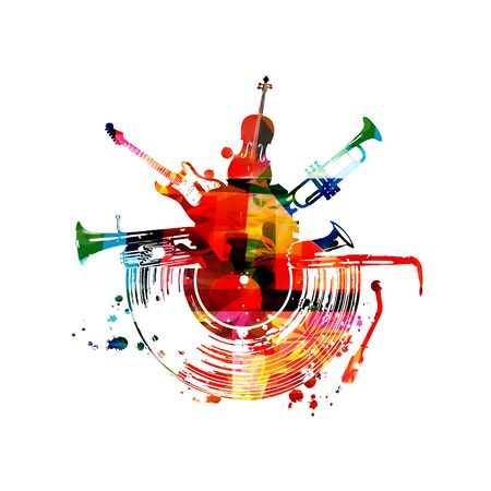 Music with colorful music instruments and vinyl record disc isolated