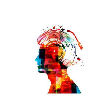 Musica con testa umana colorata e disco in vinile isolato