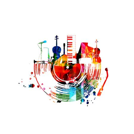 Music  with colorful music instruments and vinyl record disc