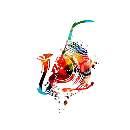 Colorful music  with saxophone and vinyl record disc isolated