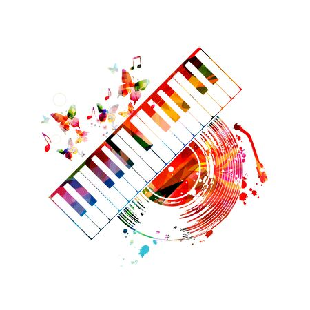 Colorful music  with piano keyboard and vinyl record disc isolated
