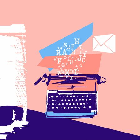 Retro styled typewriter concept for article, blogging, copywriting, creative writing, website content writing vector illustration design