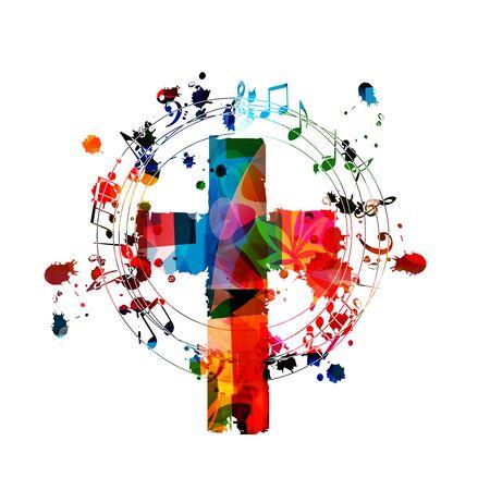 Cruz cristiana colorida con notas musicales aisladas ilustración vectorial. Fondo con temática religiosa. Diseño para música de iglesia gospel, concierto, festival, canto de coro, cristianismo, oración.