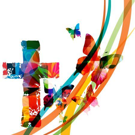 Croce cristiana colorata con illustrazione vettoriale isolato di farfalle. Sfondo a tema religione. Design per il cristianesimo, carità ecclesiale, aiuto e sostegno, preghiera e cura