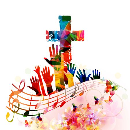 Colorful christian cross with music notes isolated vector illustration. Religion themed background. Design for gospel church music, concert, festival, choir singing, Christianity, prayer