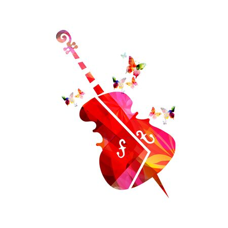 Colorful violoncello with butterflies isolated vector illustration design. Music background with cello. Music festival poster, live shows, concert events, party flyer Vetores