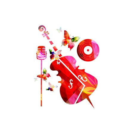 Colorful music promotional poster with microphone and violoncello isolated
