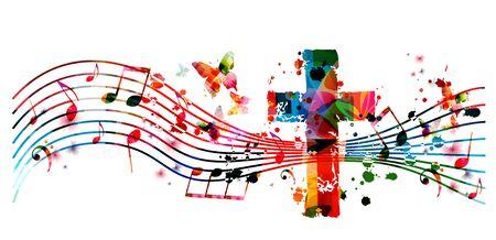 Kleurrijke christelijke kruis met muziek notities geïsoleerde vectorillustratie. Religie thema achtergrond. Ontwerp voor gospelkerkmuziek, concert, festival, koorzang, christendom, gebed