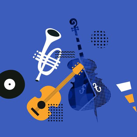 Music promotional poster with violoncello, trumpet and guitar vector illustration. Artistic music background with instruments, music show, live concert events, party flyer design template